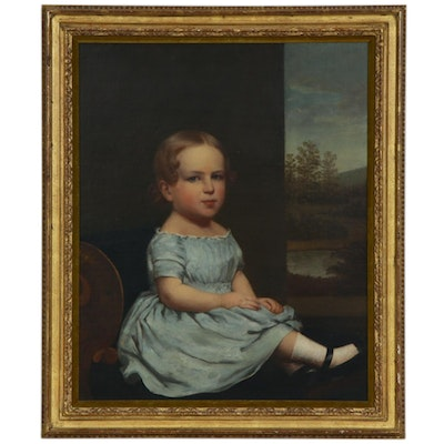 American School Oil Painting Portrait of Young Girl, 19th Century