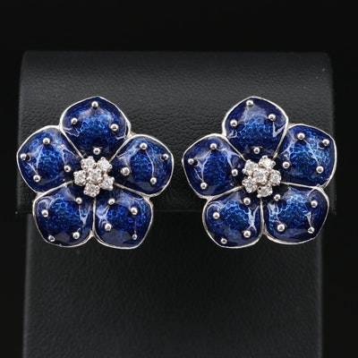 18K Gold Diamond and Enamel Flower Earrings
