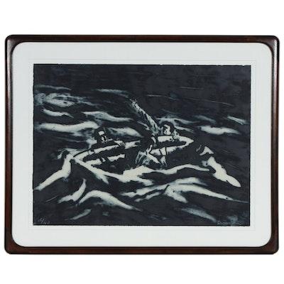 "Richard Bosman Etching and Carborundum Print ""Life Raft"", circa 1984"