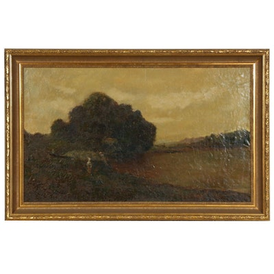 Tonalist Landscape Oil Painting Attributed to John B. Bristol, Late 19th Century