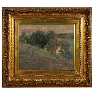 Marie Griffith Riverside Cottage Oil Painting, Late 19th to Early 20th Century