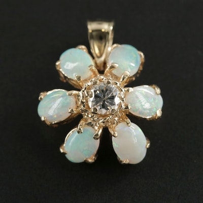 14K Opal and Diamond Flower Pendant