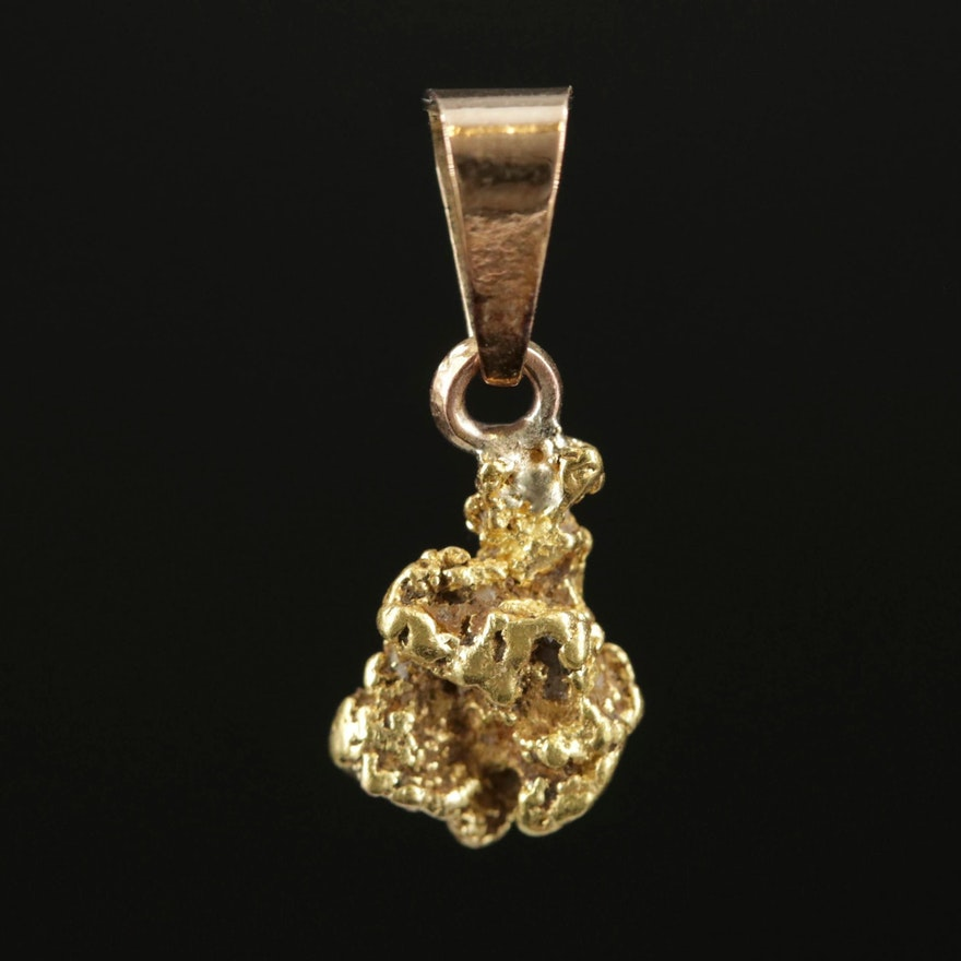 22K Nugget Pendant with 14K Bail