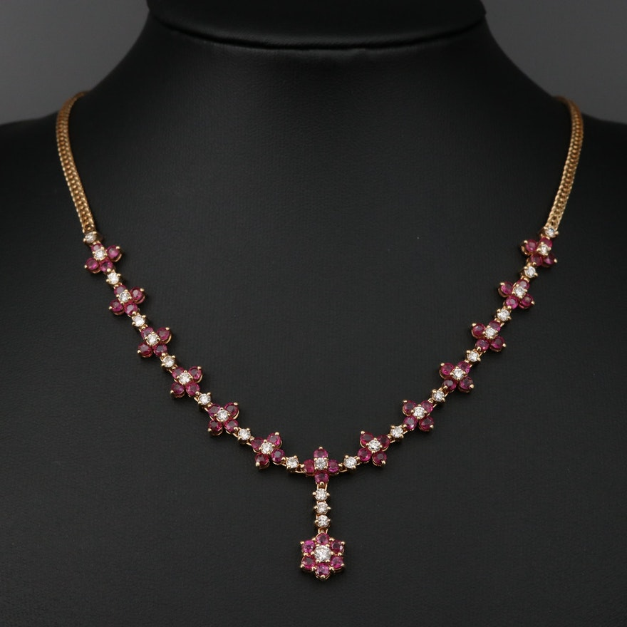 14K Gold Ruby and 2.15 CTW Diamond Necklace