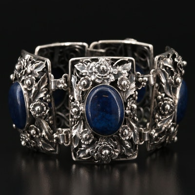 1940s Sterling Sodalite Panel Bracelet