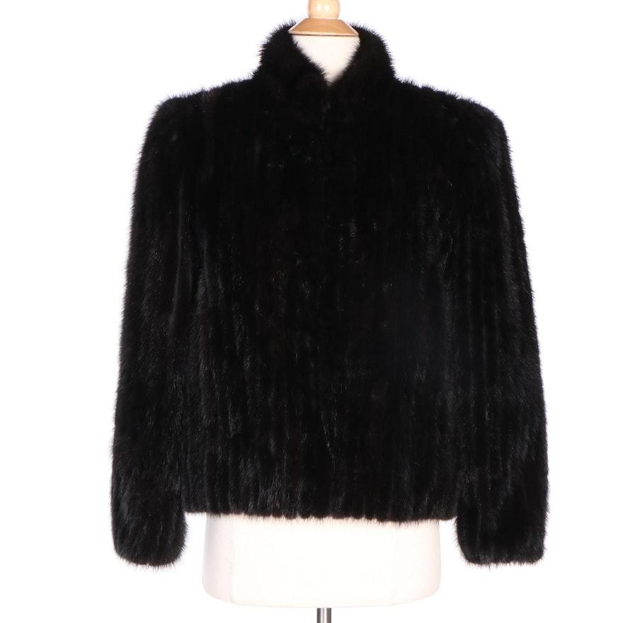 Saga Furs Corded Black Dyed Mink Fur Jacket