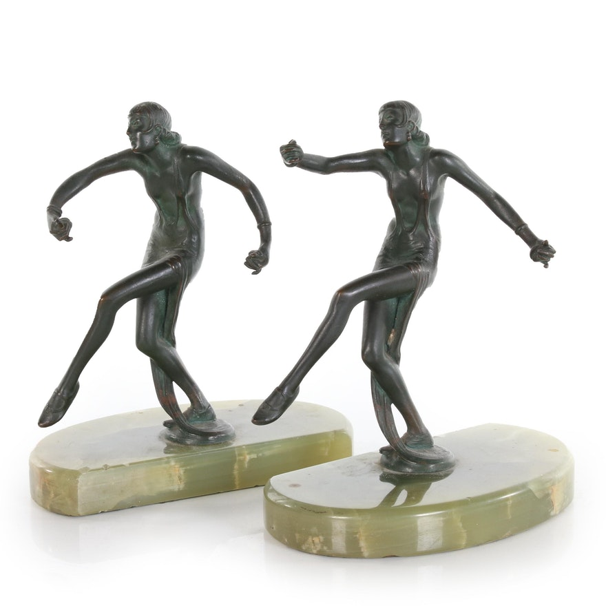 Art Deco Austrian Bronze Dancing Female Figures, Early 20th Century