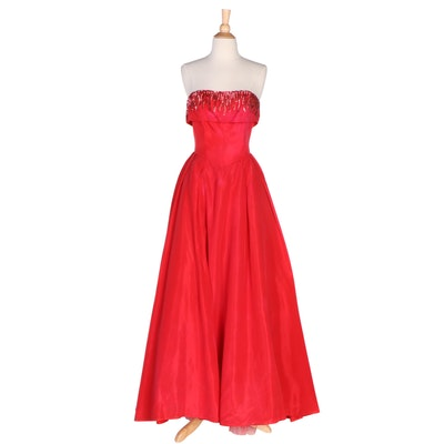 Red Strapless Formal Gown with Sequin Embellished Bodice