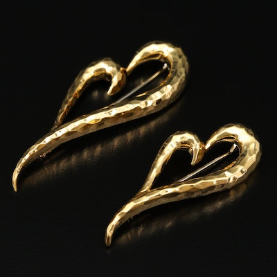 Henry Dunay 18K Gold Heart Brooches with Hammered Finish