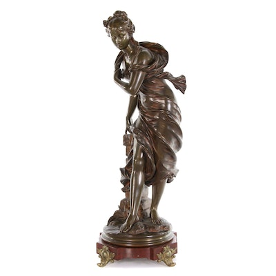 Eutrope Bouret Bronze Sculpture of Standing Woman, 19th Century