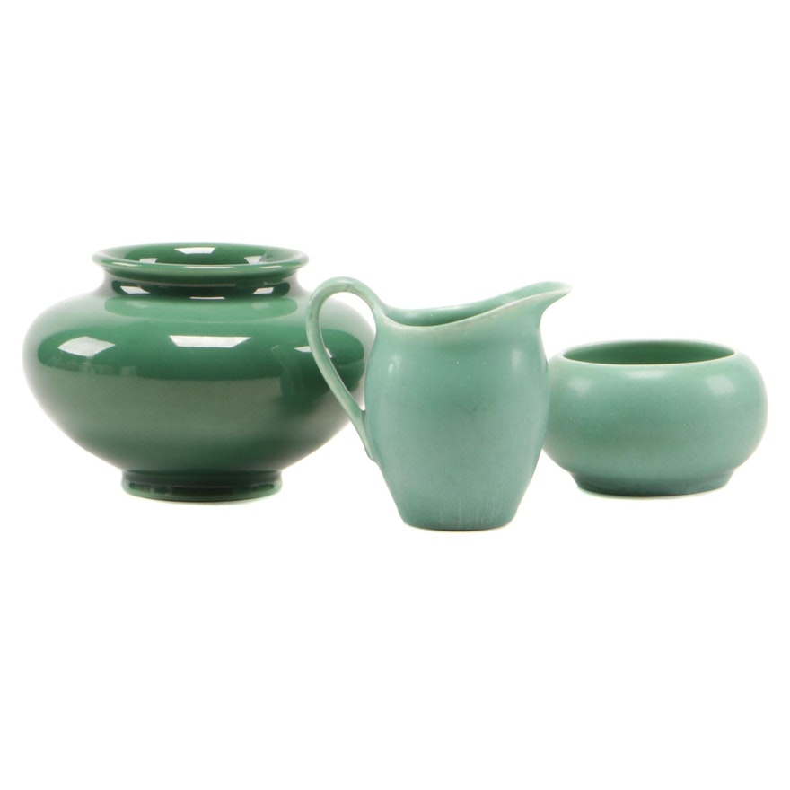 Rookwood Pottery Green High Gloss Vase with Matte Glaze Creamer and Sugar Bowl