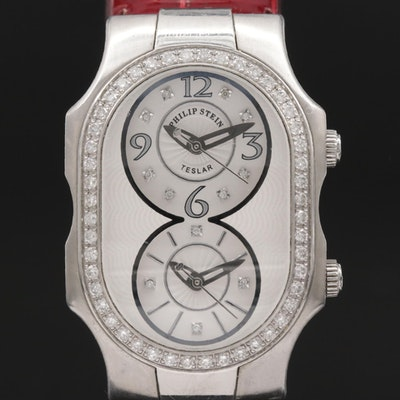 Philip Stein Teslar Stainless Steel and Diamond Wristwatch