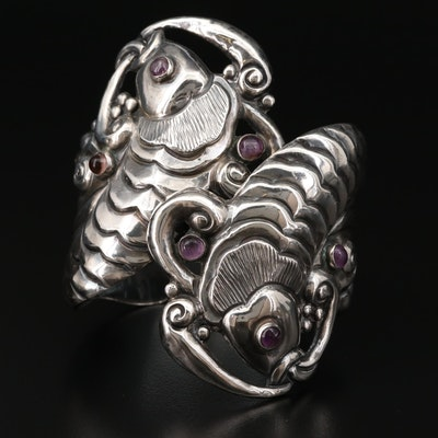 Modernist Mexican Sterling Amethyst and Glass Fish Bypass Clamper