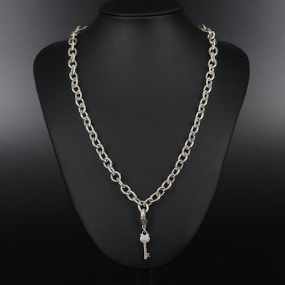 Judith Ripka Sterling Silver Chain Necklace With Cubic Zirconia Key Charm