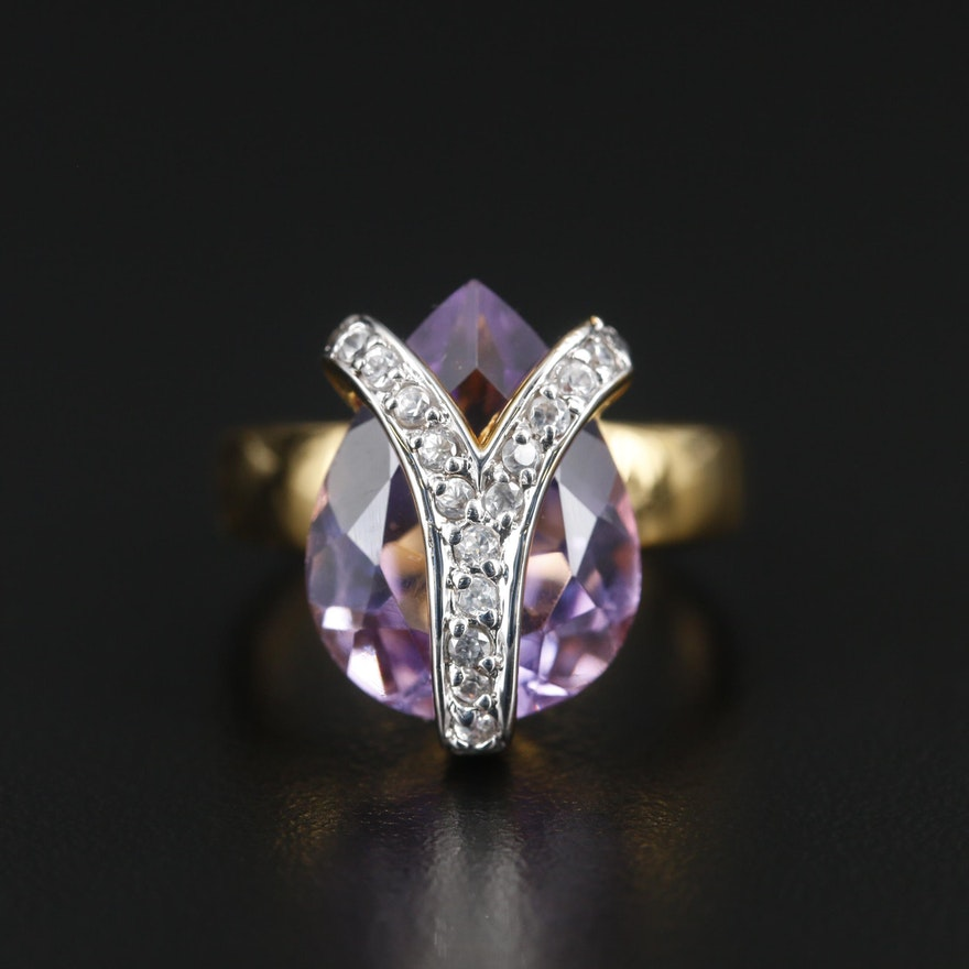 Sterling Silver Amethyst and Zircon Ring