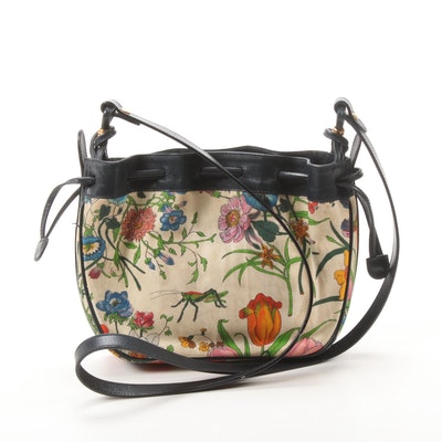 Gucci Floral Canvas and Leather Crossbody Bag