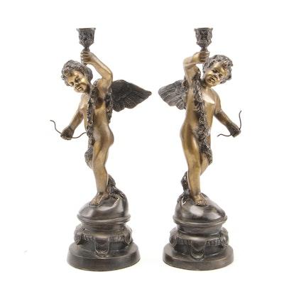 Pair of Baroque Style Bronze Tone Cherub Candle Holders, 20th Century