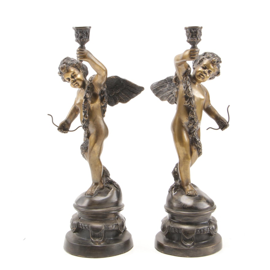 Pair of Baroque Style Bronze Tone Cherub Candle Holders, 20th Century