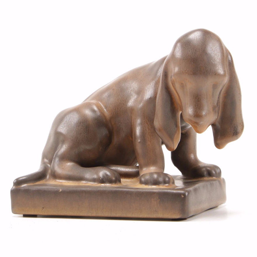 Louise Abel Rookwood Pottery Hound Dog Bookend, 1928