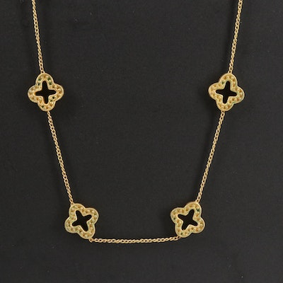 Julie Vos Curb Chain Quatrefoil Station Necklace