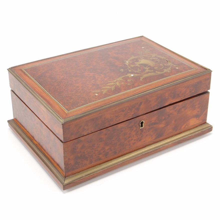 Napoleon III Brass-Inlaid Amboyna Burl Box, Second Half 19th Century