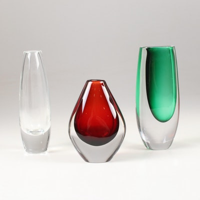 Orrefors Kosta Boda Crystal Vases