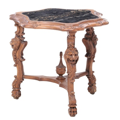 Renaissance Revival Marble Top Walnut Side Table, Early 20th Century