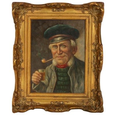 Portrait of Sailor Oil Painting, Early to Mid 20th Century