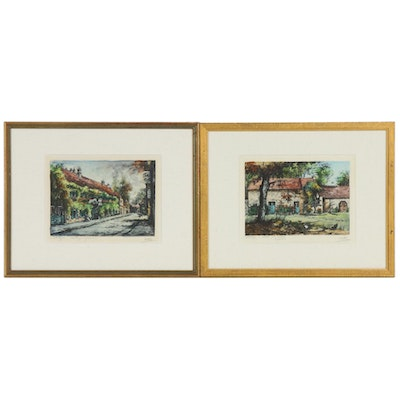 Eugene Veder Hand-Colored Etchings of Barbizon, France, Early 20th Century