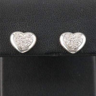 Scott Kay Sterling Silver Diamond Heart Stud Earrings