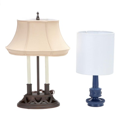 Two Arm Bouillotte Style Lamp with Hobnail Style Lamp