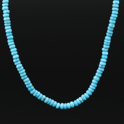 14K Gold Turquoise Beaded Necklace