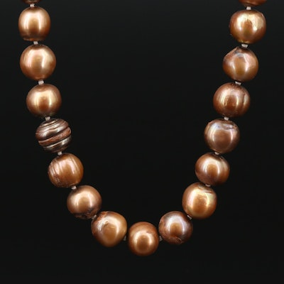 Hand Knotted Strand of Pearls with 14K Clasp