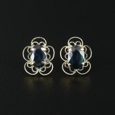14K Yellow Gold Sapphire Filigree Earrings
