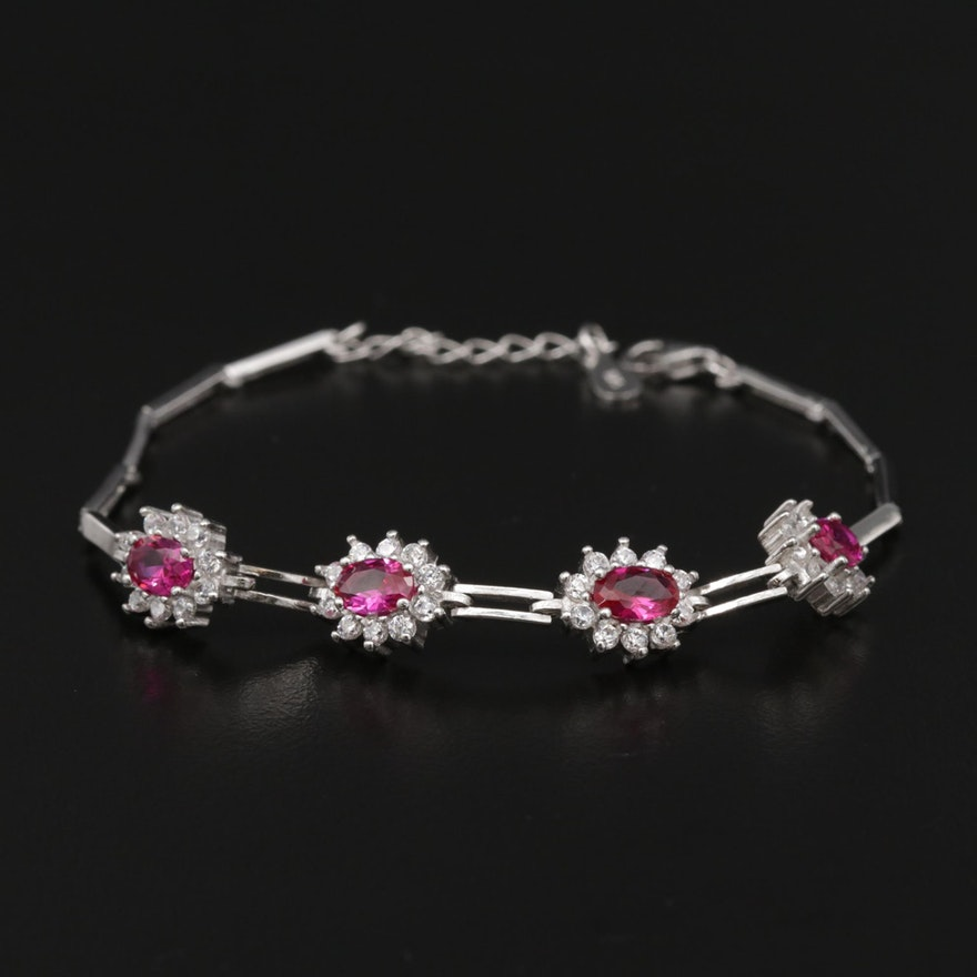 Sterling Synthetic Ruby and Cubic Zirconia Bracelet