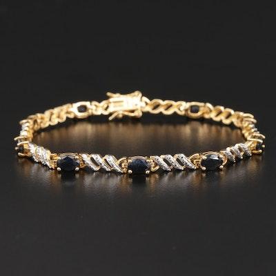 Sterling Silver Saphire Bracelet