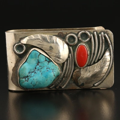 Southwestern Style Turquoise and Coral Money Clip