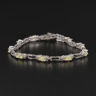 Sterling Synthetic Opal Bracelet