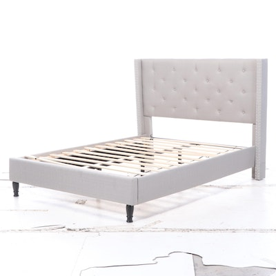 Contemporary Queen Sized Button Tufted Upholstered Bed Frame