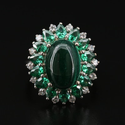 Sterling Silver Malachite and Cubic Zirconia Ring