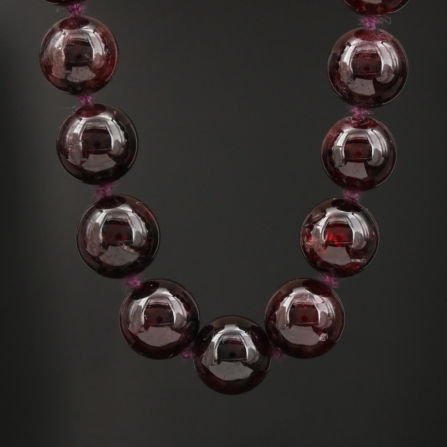 Garnet Beaded Necklace with Sterling Clasp