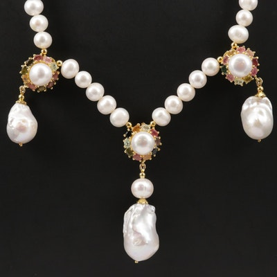 Sterling Pearl and Multi-Color Tourmaline Necklace