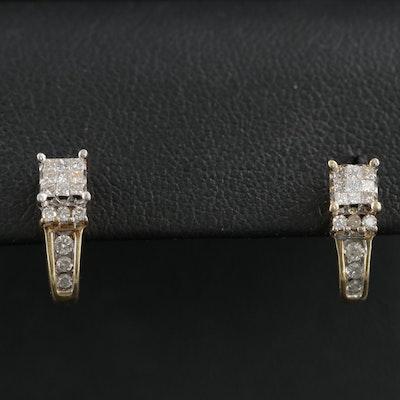 """14K Yellow Gold Diamond """"J"""" Hoop Earrings"""