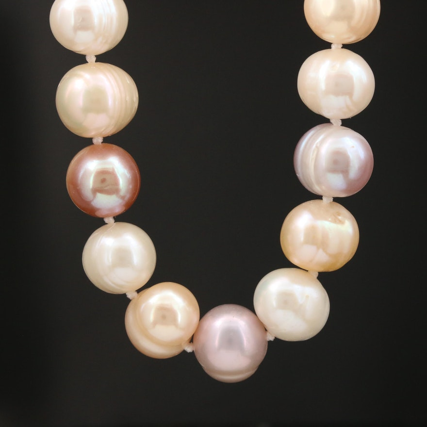 Hand Knotted Cultured Pearl Strand with Sterling Silver Clasp