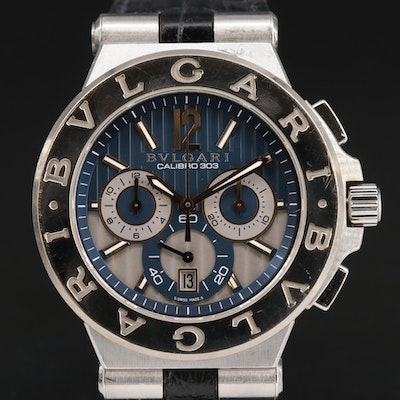Bulgari Diagono Calibro 303 Chronograph 18K Gold and Stainless Steel Wristwatch