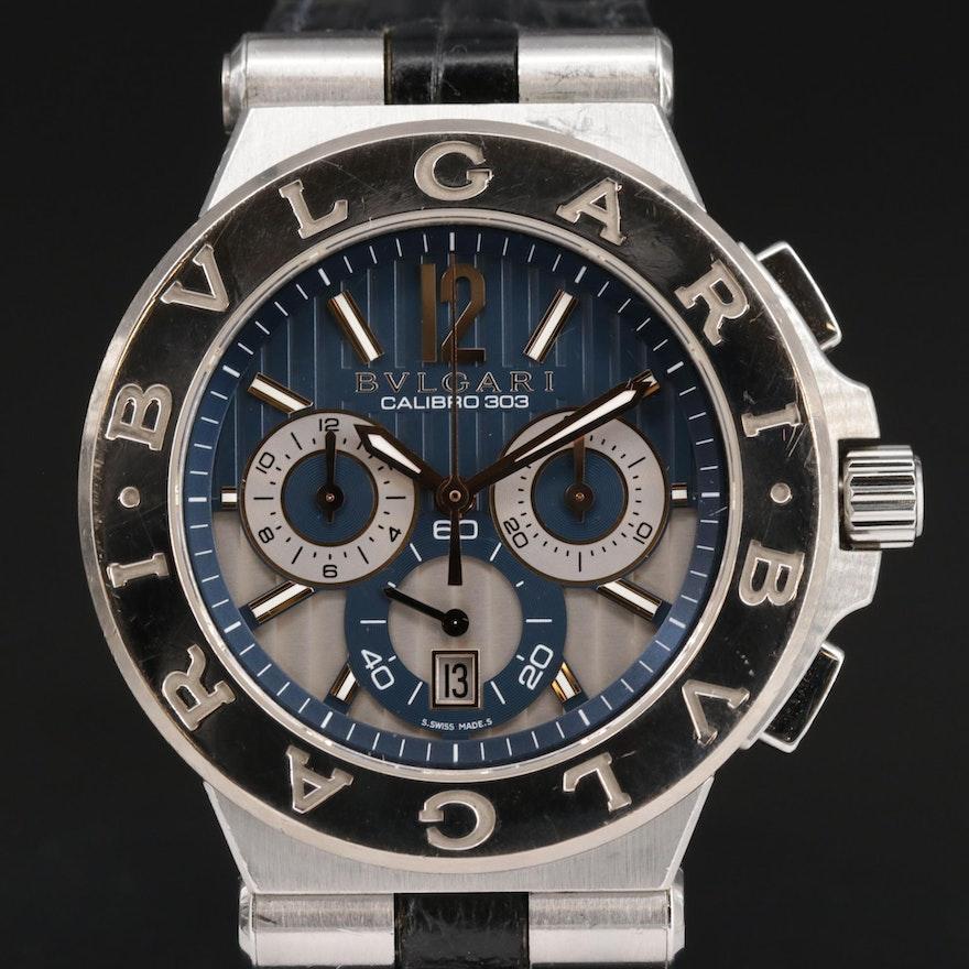 Bulgari Diagono Calibro 303 Chronograph 18K Gold and Stainless Steel Wristwatch