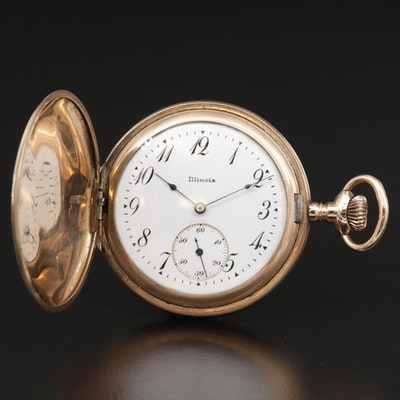 Antique Illinois Gold Filled Hunting Case Pocket Watch