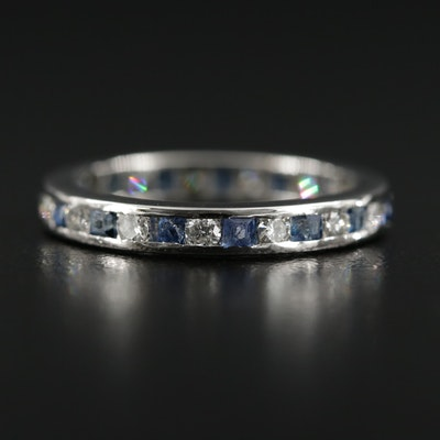 Platinum Diamond and Sapphire Band