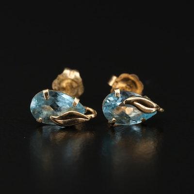 14K Yellow Gold Topaz Stud Earrings