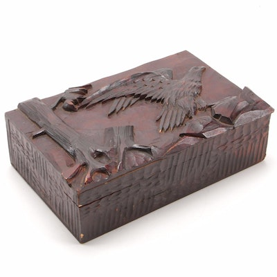 Carved Wooden Box with Eagle in Flight Motif